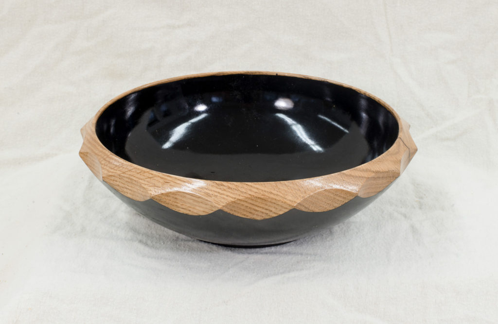 Oak, painted with natural serrated rim, 9 x 3.5 inches