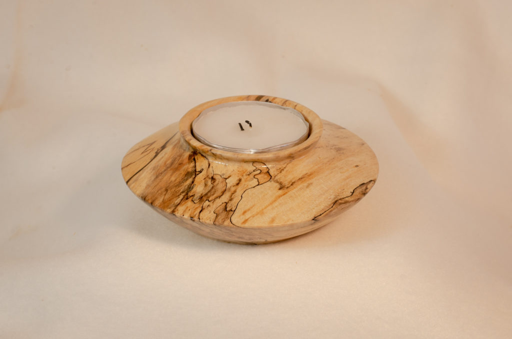 Spalted Maple Tea Candle Holder, 6x1.75 inches