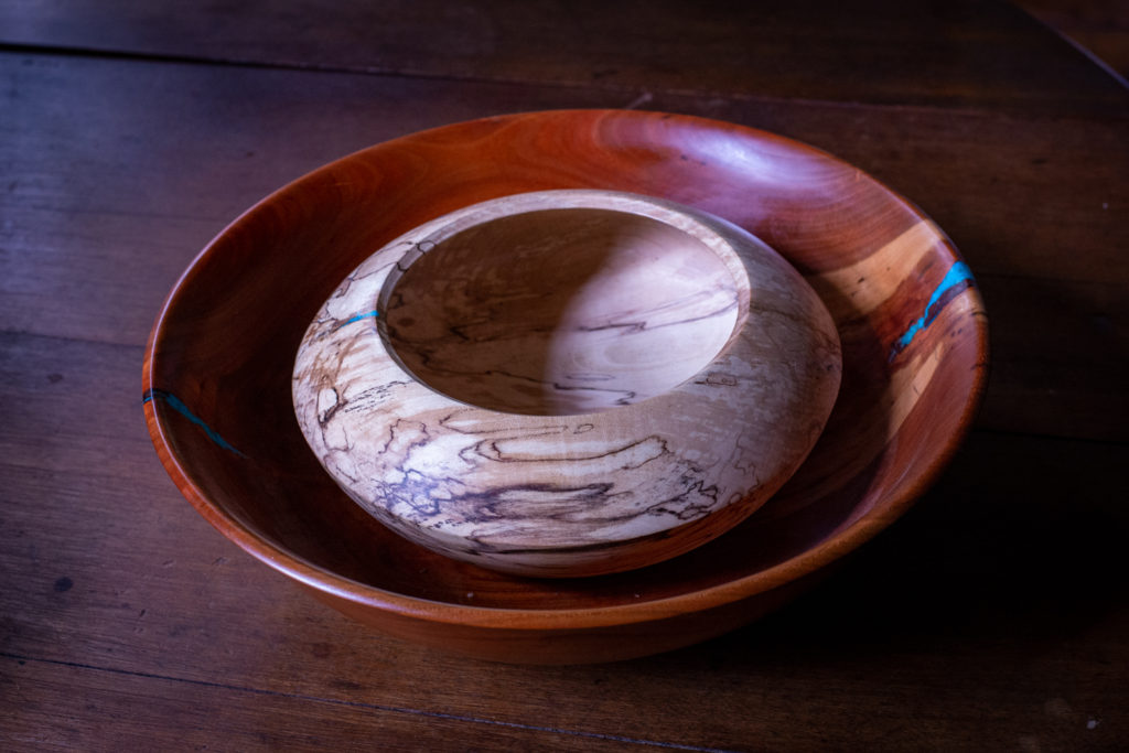 Cherry bowl with Spalted Maple smaller bow