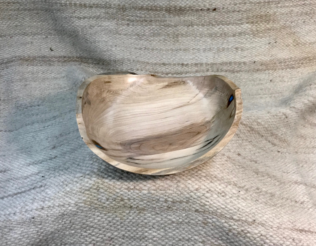 Spalted male shallow bowl, hand-made, 9 x 8 x 2.5 inches, $95