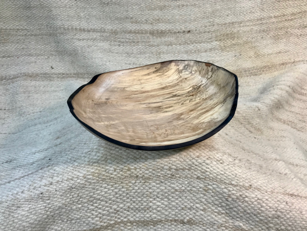 Spalted maple shallow bowl, hand-made, 10 x 9 x 2 inches, $75