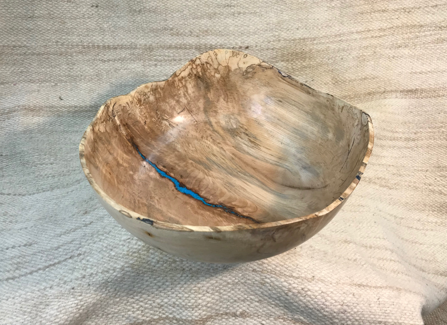 Maple with Turquoise colored inlay, 13x6 inches by Sandy Renna