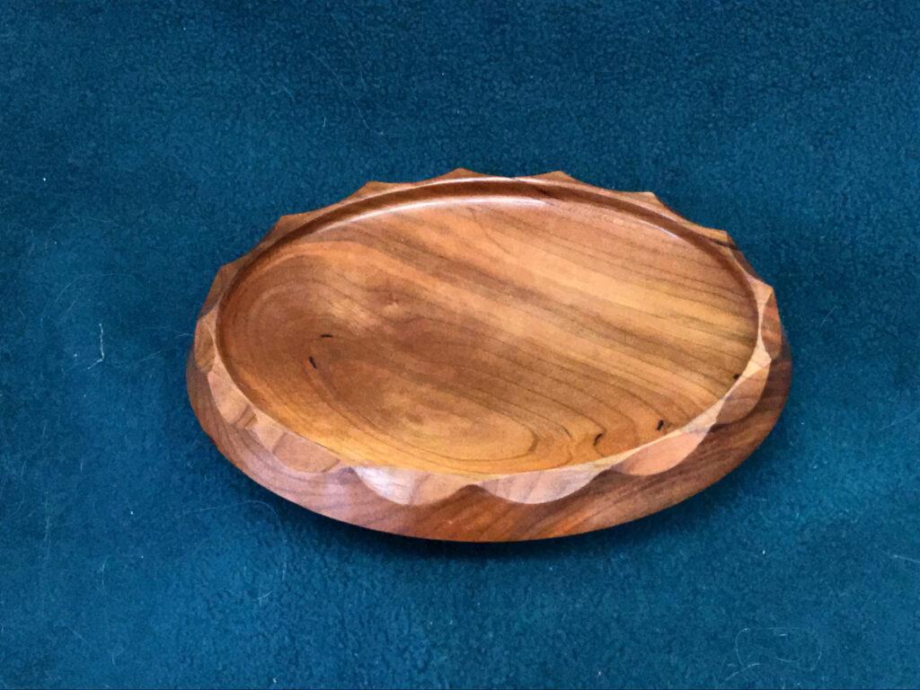 Cherry platter, scalloped rim, hand-made, 9 x 15 inches, $75