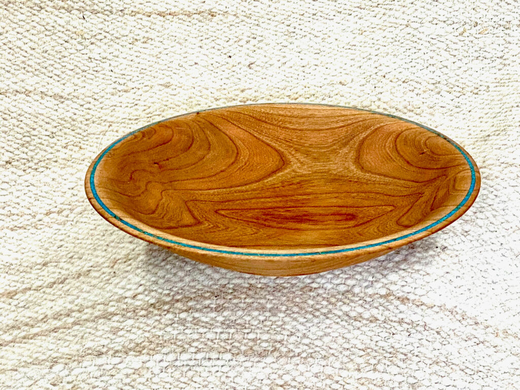 Cherry shallow bowl, turquoise colored inlay, hand-made, 9 x 2 inches, $95