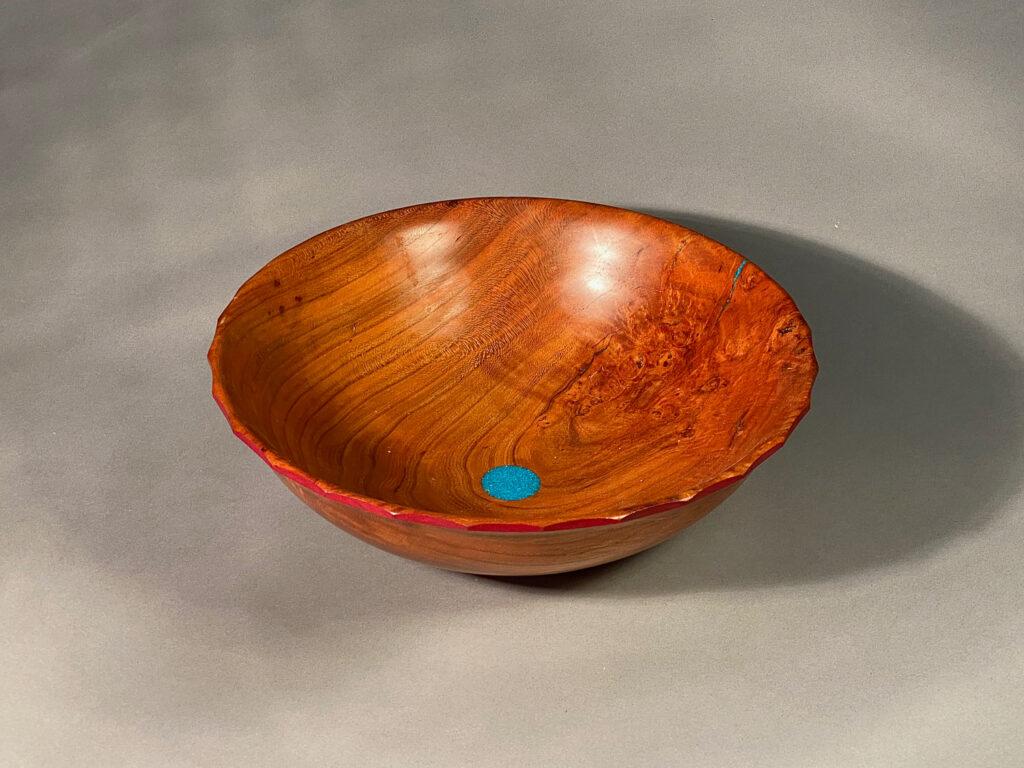 Cherry, scalloped red rim, turquoise inlay, hand-made, $12 x 4 inches, $145