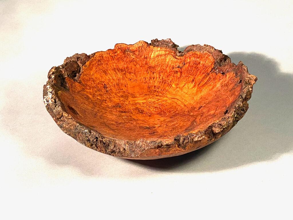 Maple burl, natural bark rim, hand-made, 11 x 3.5 inches, $ 195